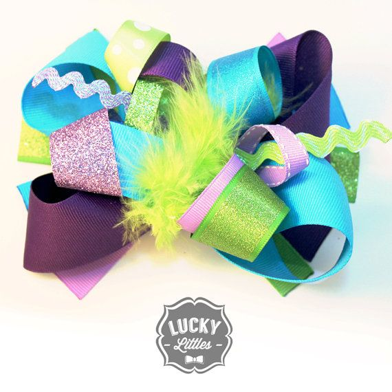 Quot Playful Peacock Quot Hair Bow In Purple Green Blue Sparkle