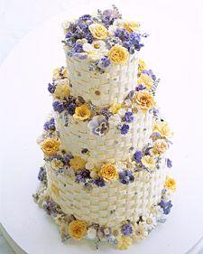 Martha Stewart Basket Weave cake with purple flowers http://www.marthastewartweddings.com/recipe/crystallized-flowers-cake