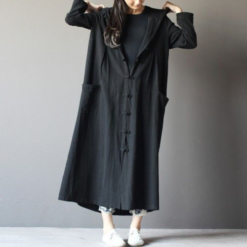 2016 black linen cardigan dress plus Size L ong maxi coat summer linen clothingThis dress is made of cotton linen fabric, soft and breathy, suitable for summer, so loose dresses to make you comfortable all the time.Measurement:  Size S length 120cm / 46.8