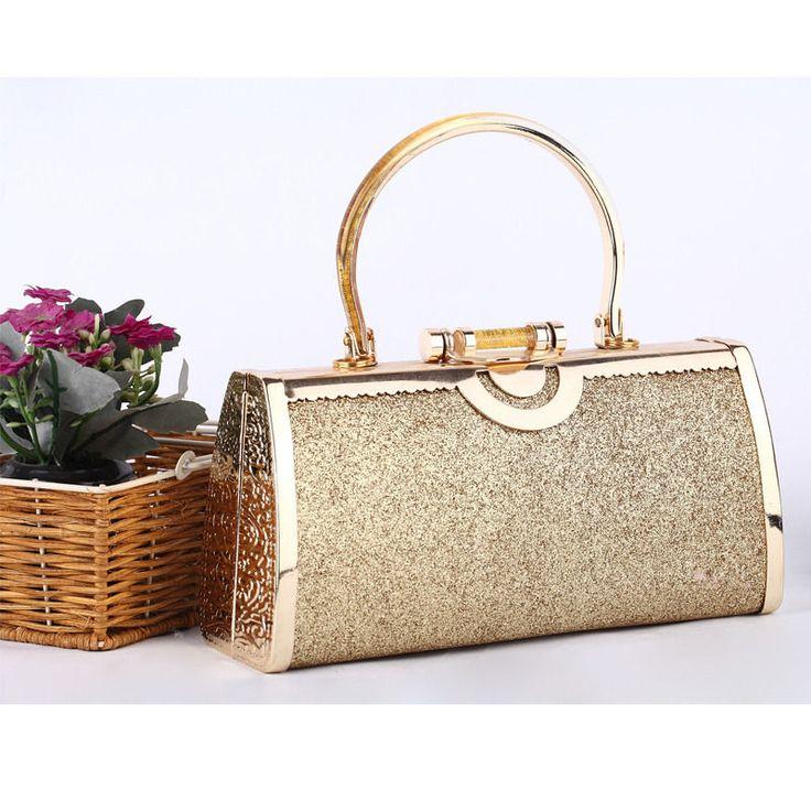 Gold Luxury Handbag Metal Glitter Clutch Evening Bag