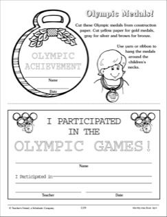 Olympic Medals: Award Pattern and Fill-In Certificate