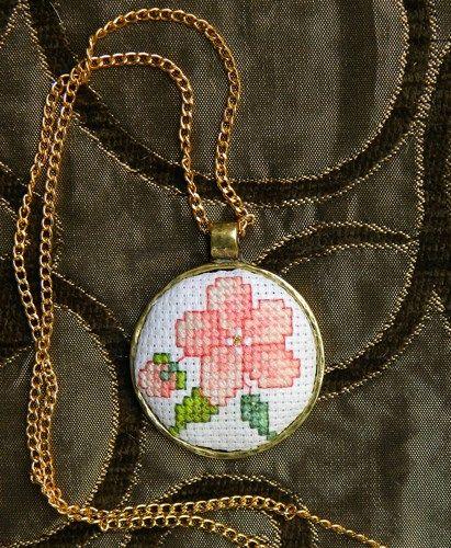 Sakura flower cross stitch pendant necklace vintage style country chic