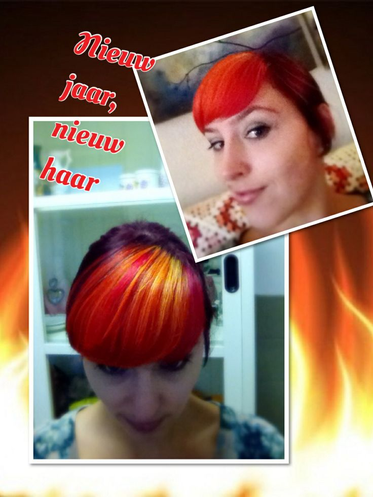 Paars, rood, oranje geel haar