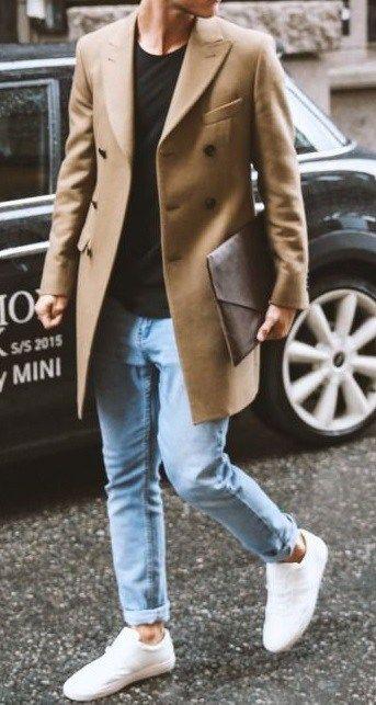 winter fashion for men - camel overcoat