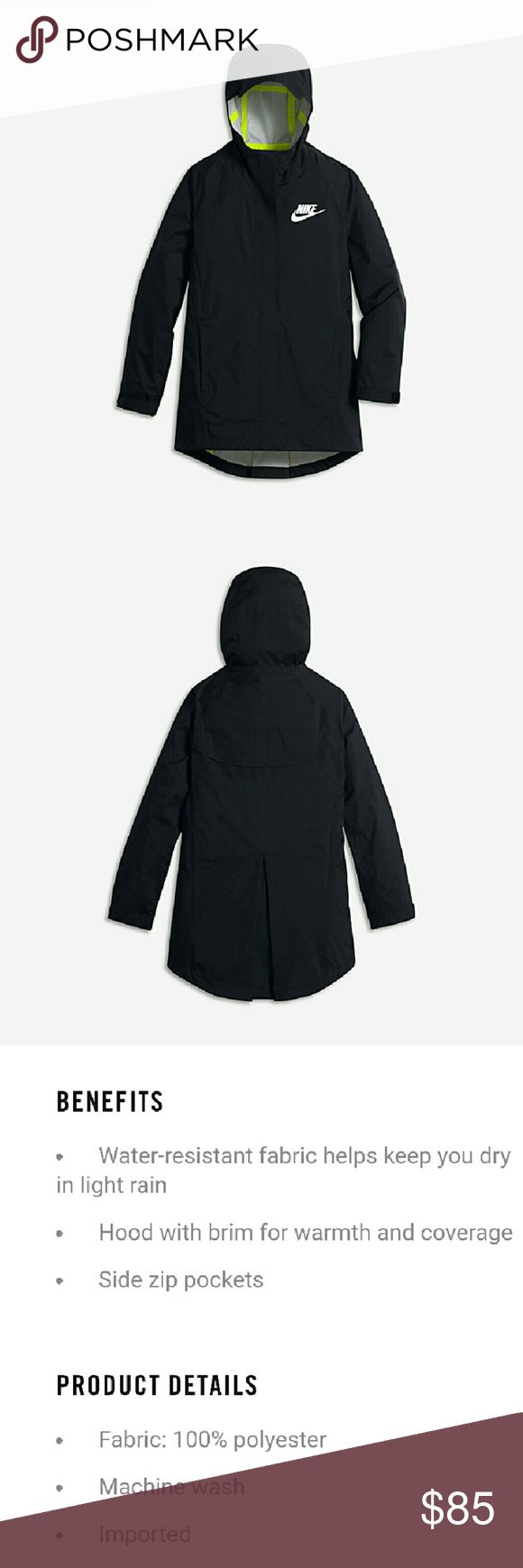 BNWT Nike Girls Big Kids Jacket This item is BNWT. Waterproof, breathable, and comes with strategically placed ports to plug in your headphones. Very lightweight. Nike Jackets & Coats Raincoats