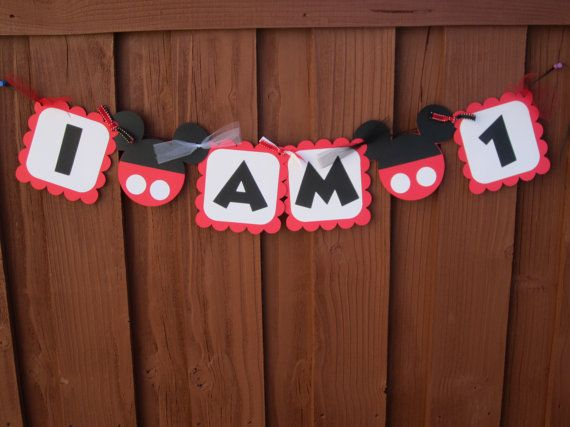 Mickey Mouse High Chair Banner - I AM 1