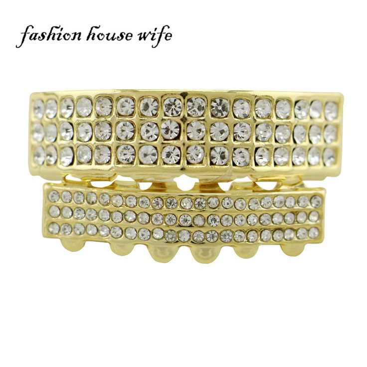 Fashion House Wife Hip Hop 3 Rows Rhinestone Gold Silver Teeth Grillz Top&Bottom Teeth Grillz Teeth Set Halloween Gift NL0055