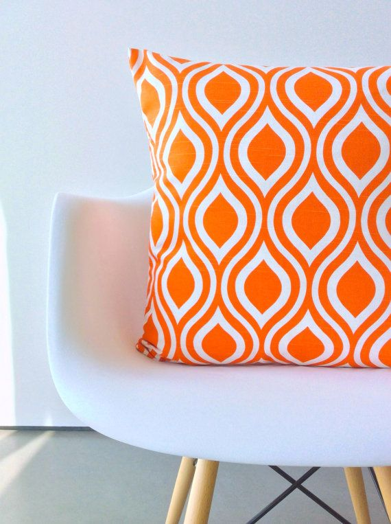 Orange pillow cover One 16 x 16 inches Nicole Tangelo Orange cushion cover modern pillows    ONE new handmade pillow covers - Insert is NOT