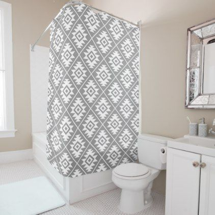 Aztec Symbol Stylized Pattern White on Gray Shower Curtain - patterns pattern special unique design gift idea diy