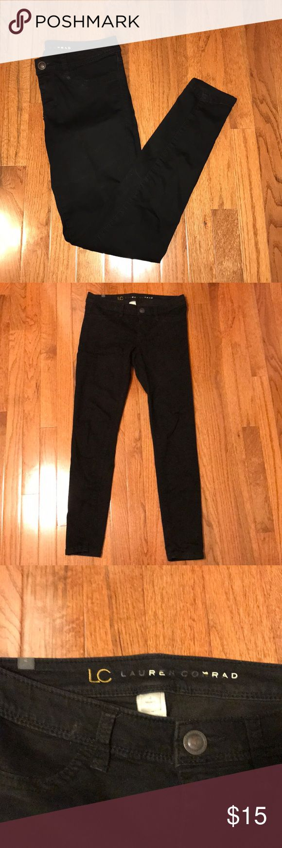 LC Lauren Conrad Black Jeggings These are size 4 Black Jeggings by LC Lauren Conrad. Purchased from Kohl's. The lettering on the inside logo of the pants is peeling off but obviously can't tell when being worn since it's on the inside of the waistband. Other than that there are no flaws. The front pockets are not functional but the back ones are. I have a dark wash version of these pants also listed. Lots of items under $10 to bundle with! LC Lauren Conrad Pants Leggings