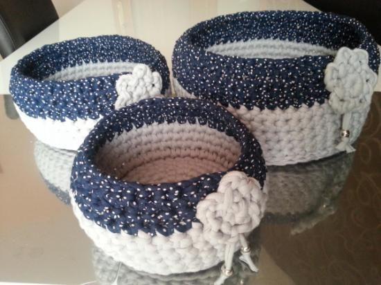 3 cestas de trapillo 100% algodón crochet