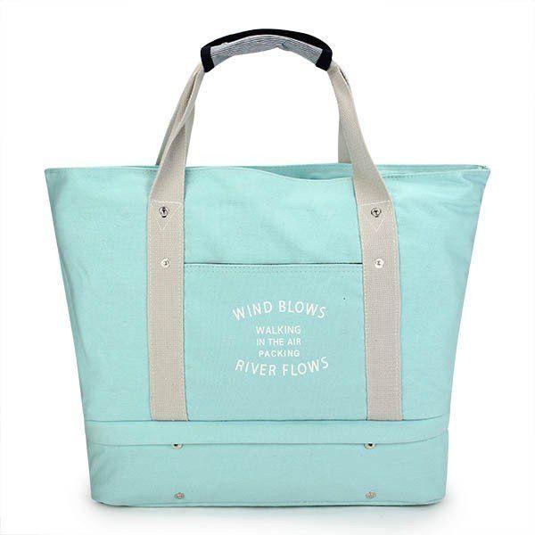 Women Casual Multifunctional Double-deck Large Capacity Outdoor Travel Handbag Shoulder Bag