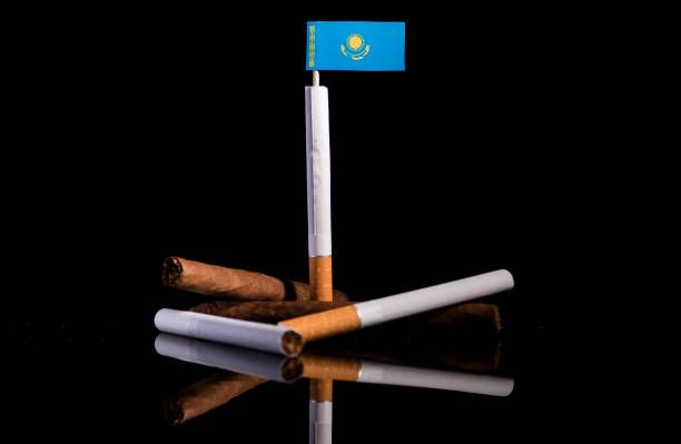 kazakhstan flag with cigarettes and cigars tobacco industry concept