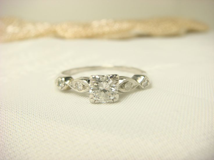 Platinum Diamond / Retro / 1940's - 1950's / Engagement Ring / Wedding Ring / Antique Jewelry / Vintage Jewelry / Unique Ring / Anniversary by ShinePrettyGems on Etsy