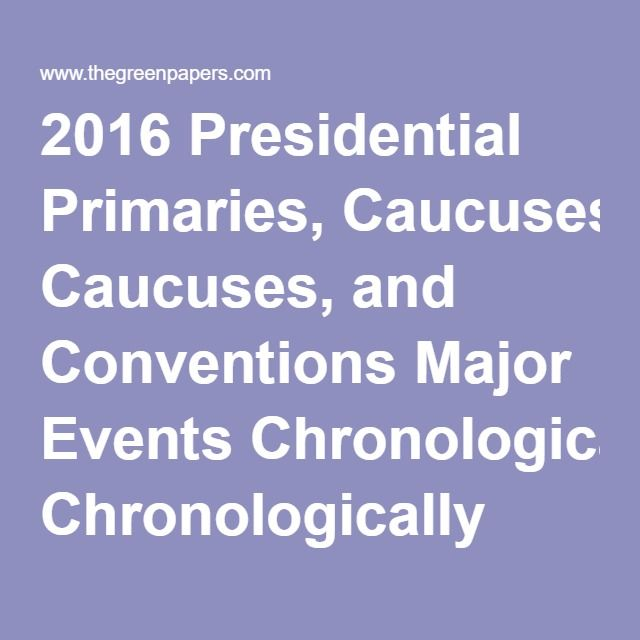 2016 Presidential Primaries, Caucuses, and Conventions Major Events Chronologically