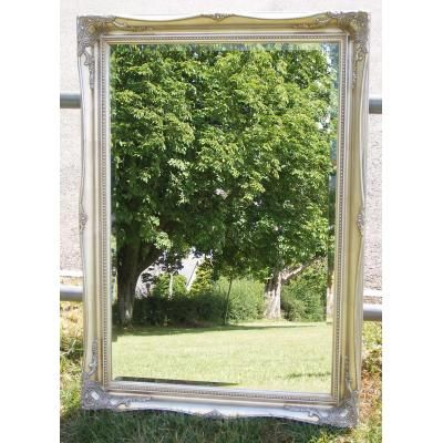Large Classic Pewter/Silver Swept Mirror from Ayers and Graces