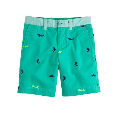J.CREW BOYS' STANTON SHORT IN EMBROIDERED PIECE-DYED CHINO