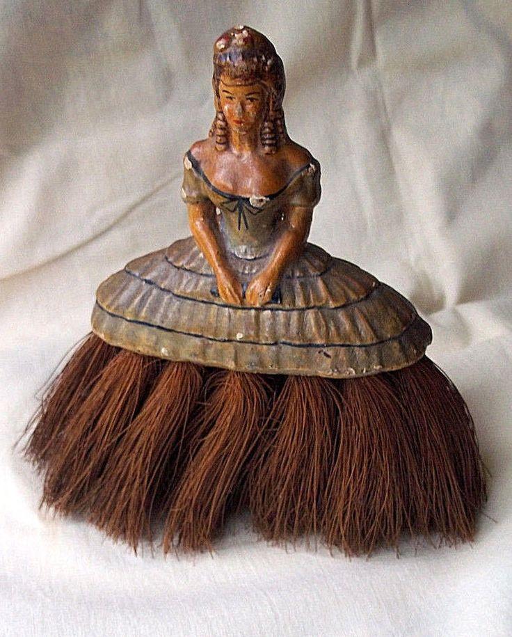 Antique Victorian chalkware woman novelty crumb vanity whisk broom vintage!
