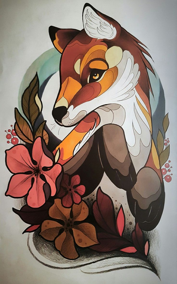 neo traditional fox tattoo