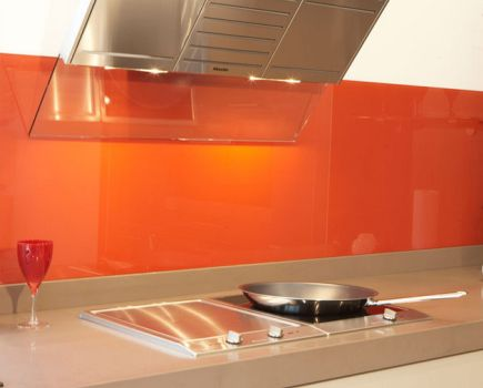 glass splashback orange home slider