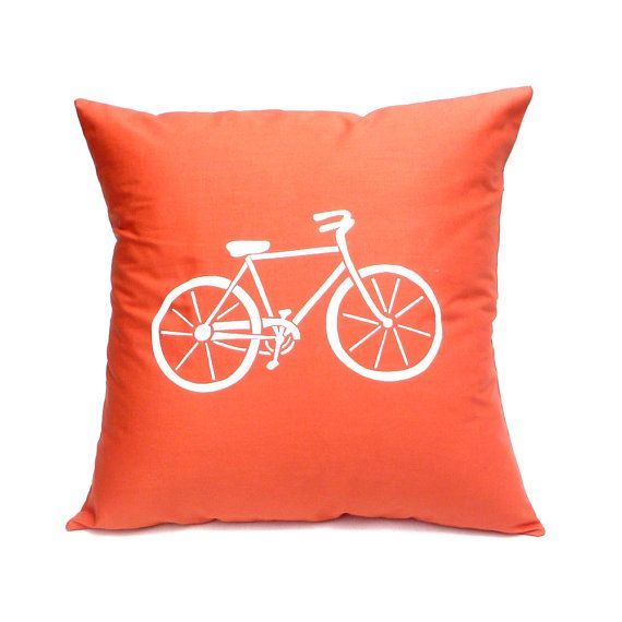 Pillow Cover - Bicycle in Orange - Hand Screen Printed Cushion