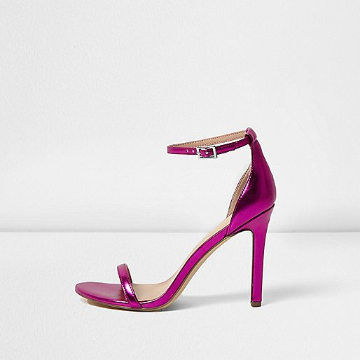 Sandales minimalistes rose métallisé à talons