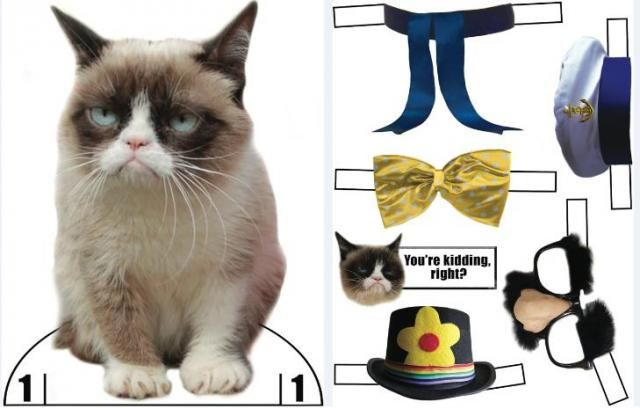 Grumpy Cat Dress Up Paper Dolls - by Dover Publications - == -  The most grumpy cat in the world can now be yours with this dress up paper doll, shared as a freebie by Dover Publications.