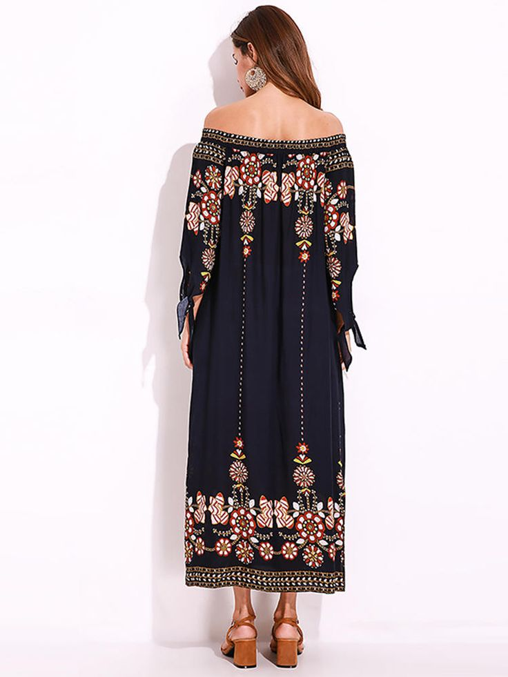 Plus Size Sexy Women Floral Printed Tie Sleeve Dress at Banggood