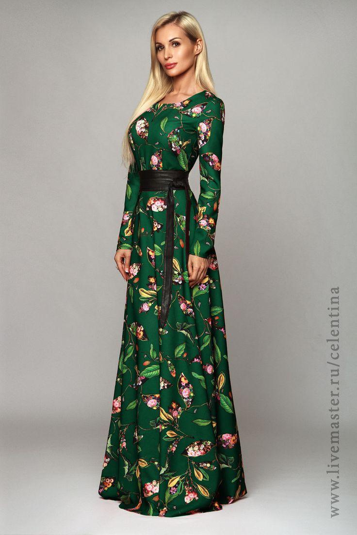 Купить Длинное платье, зеленое нарядное платье, осеннее вечернее платье в пол - тёмно-зелёный