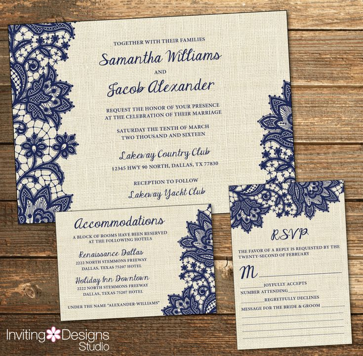 Rustic Wedding Invitation, Burlap Lace, Navy Blue, Country, RSVP Card, Accommodations Card, Wedding Suite PRINTABLE FILE by InvitingDesignStudio on Etsy