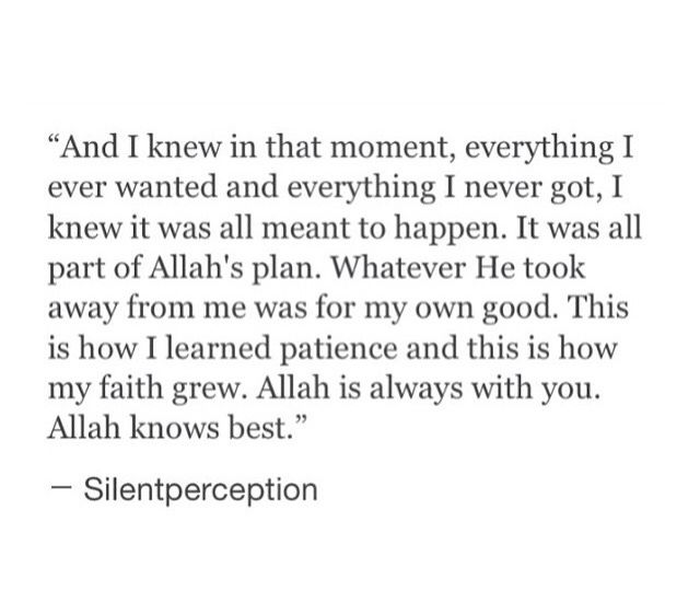 Allah is always with you. Allah knows best. #patience #islamic