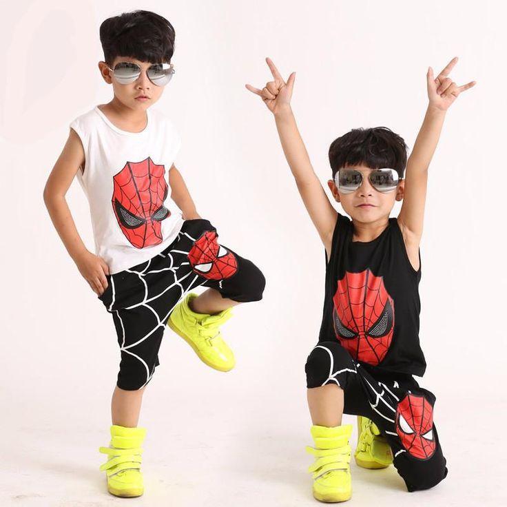 summer Teenage  Boys Clothing Sets Spider Man Kids Boys Clothes  Sleeveless tShirt+knee length pants for baby boy 3-10 year - 10 MINUS