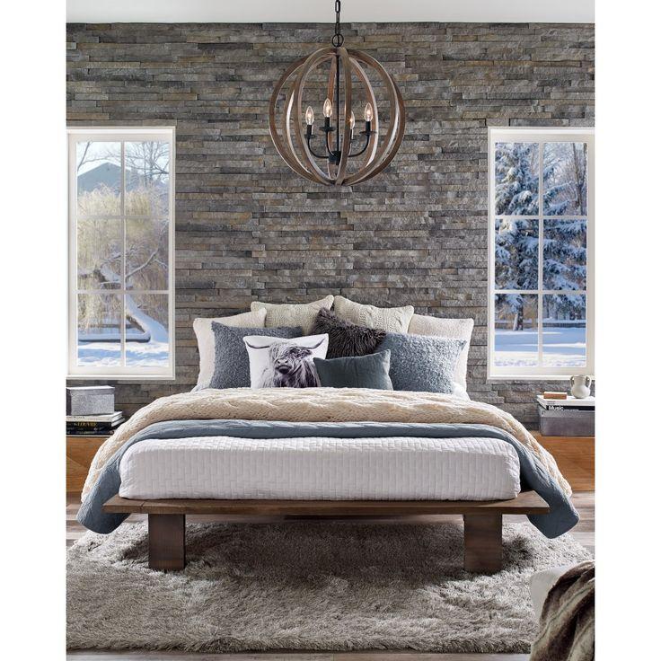 Luminaire suspendu de bois vieillis, chandelier bronze foncé, idéal pour salle à manger, chambre, entrée et escalier.