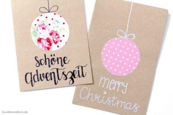 DIY Weihnachtskarte mit Stoff