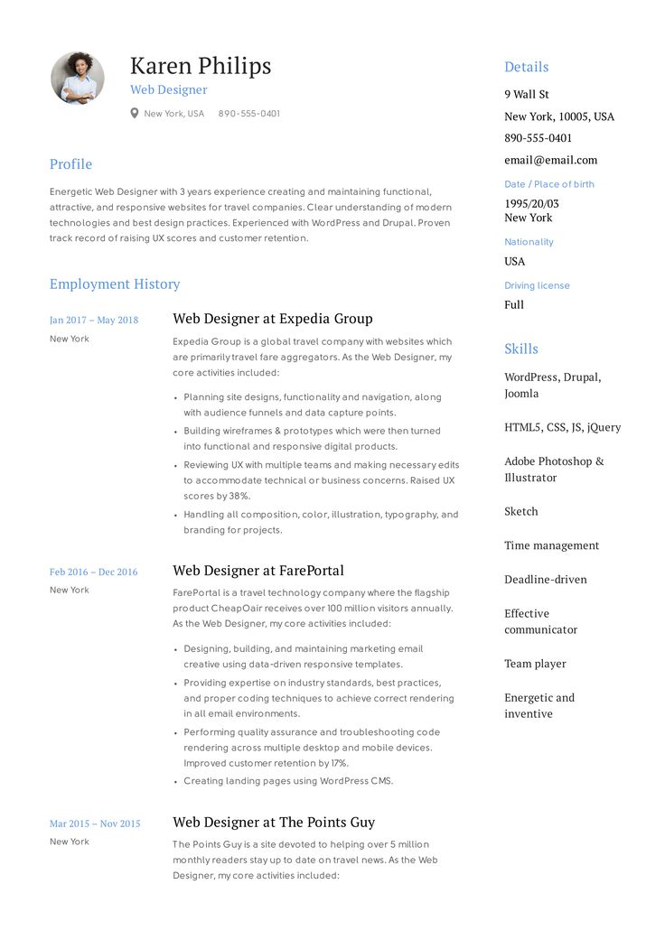 Web Designer Resume Example, Template, Sample, CV, Formal