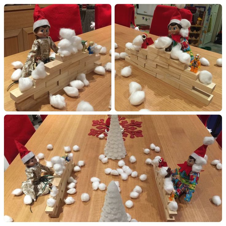 December 21st. Snowball fight!!!!! Cheeky elves #elfontheshelf