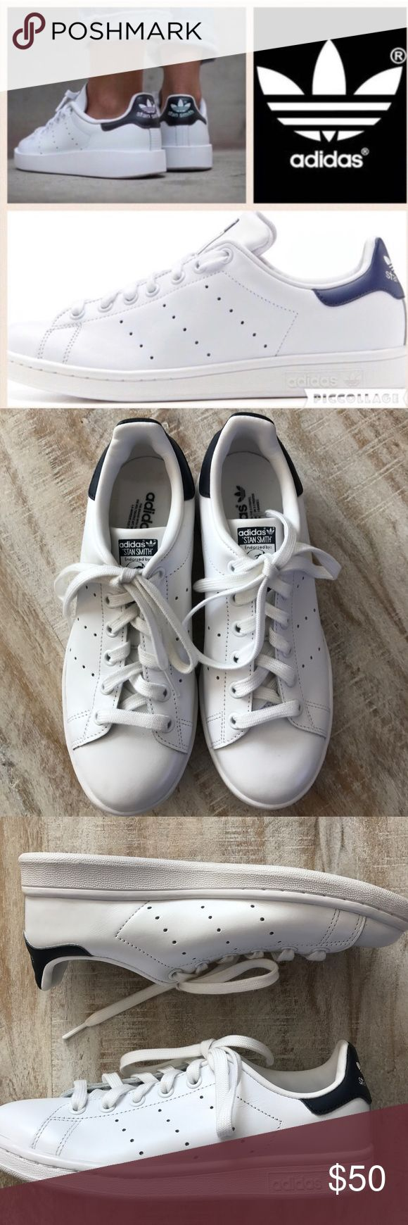 Adidas Stan Smith Sneakers/wht&nvy/men's 5-wmn 7 Hot Spring Style! The Stan Smith Sneaker from Adidas is flying off store shelves! This pair is the white and navy combo, and is a men's size 5, fits a women's 6.5 with a thicker sock, 7 with thin or no socks perfectly! Store sample/closeout/no box. Brand new condition, never worn outside the store as seen by the dirt-free soles! 🚫no trades, low offers not considered. Adidas Shoes Sneakers