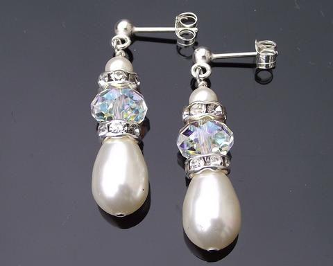 Wedding Earrings - Teardrop Pearl And Swarovski Crystal Earrings, Meg