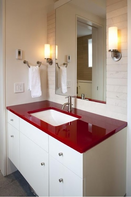 White Bathroom With Red Counter And Undermount Sink