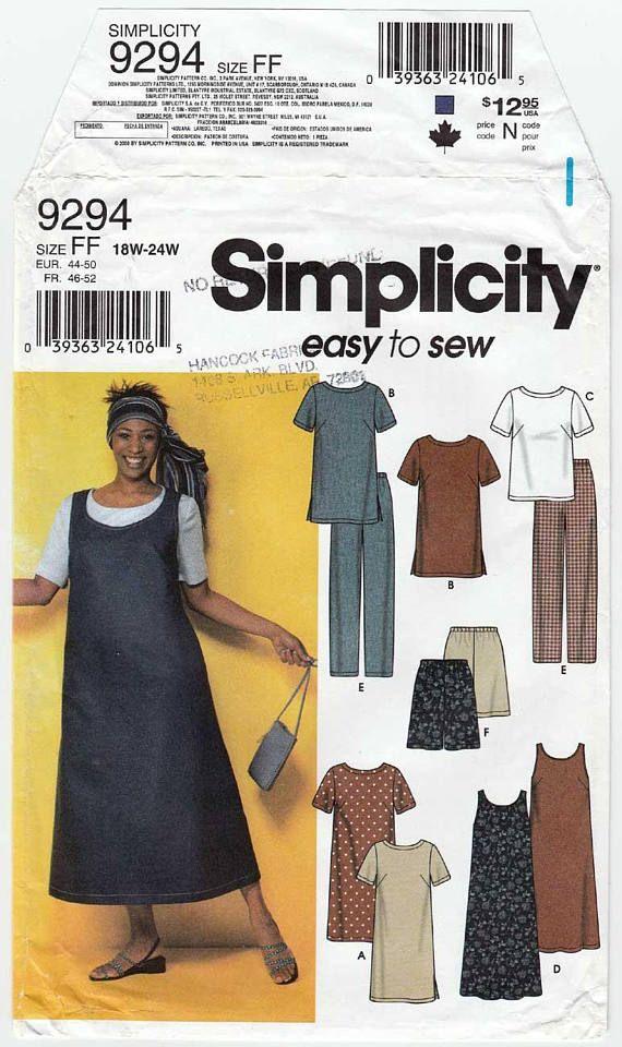 Simplicity 9294 Women's Sewing Pattern Dress, Top, Jumper, Pants, Shorts Plus Size 18-20-22-24 Bust 40-42-44-46 Uncut