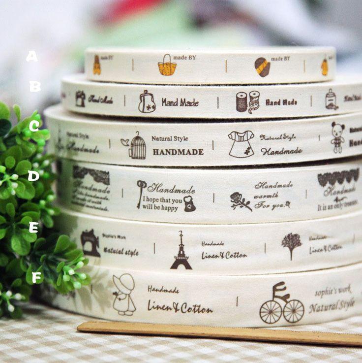 Manual de comestibles group1.5 - 2.5 cm tela de algodón de la etiqueta de cinta accesorio de DIY cintas de costura envío gratis(China (Mainland))