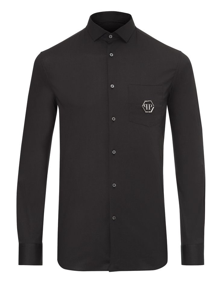 """Philipp Plein Shirt platinium """"Casino"""" 350 EUR. Classic design elevated to sublime lust: the frontal part is gifted with the iconic skull face detail, gifting the piece with cool edge.  Composition SHELL: 97% COTTON 3% ELASTANE"""