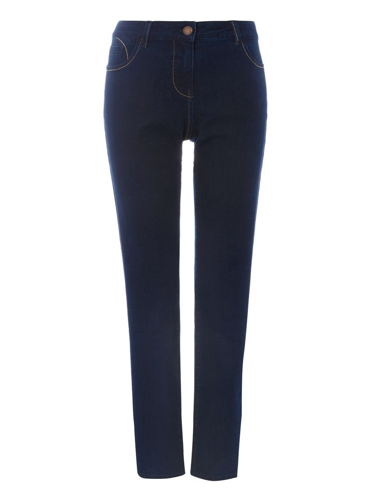"""These dark wash denim jeans will make a stylish foundation for any outfit. In blue, these jeans come in a five pocket construction with a flattering straight leg. Style with a T-shirt and loafers for a relaxed, laid-back look. Dark denim straight leg jeans 5 pockets Flattering straight leg Dark wash Model's height is 5'11"""" Model wears a size 12"""
