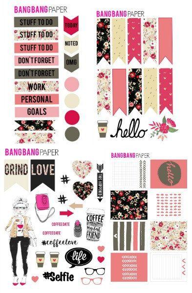 Rosa CAFE Kit de pegatinas de planificador Erin por BangBangPaper