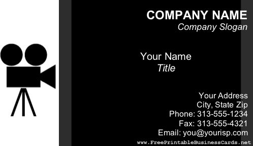 A videographer or movie industry business card in black and white with a movie camera illustration. Free to download and print