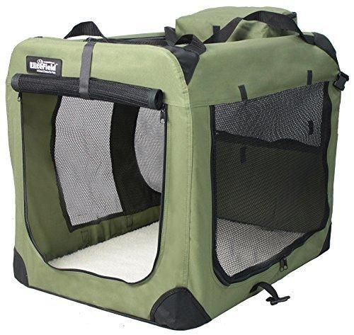 """EliteField 3-Door Folding Soft Dog Crate Indoor & Outdoor Pet Home Multiple Sizes and Colors Available (24""""L x 18""""W x 21""""H Sage Green)"""