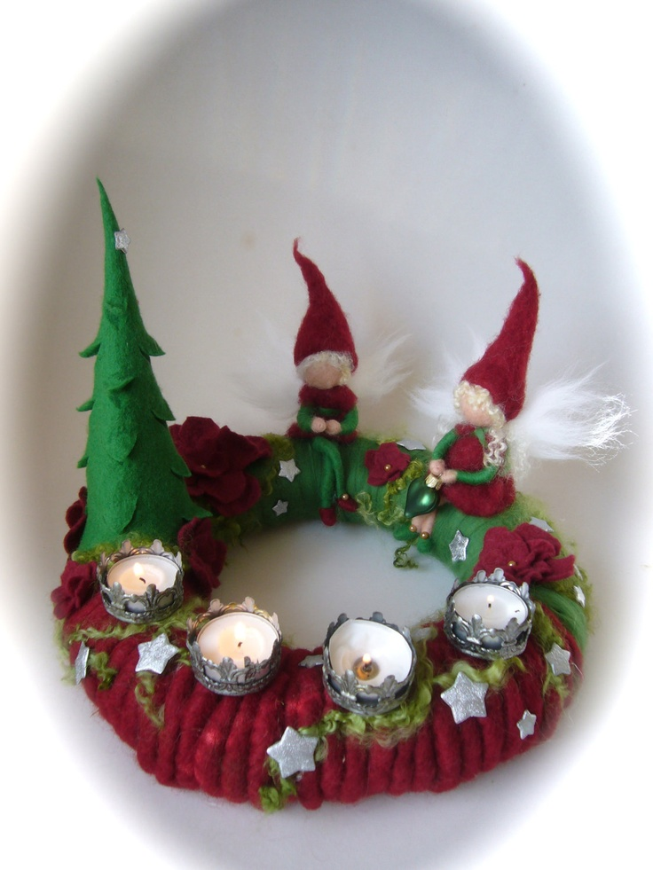Advent wreath,Christmas.elf,fairy,pixie.Felted,Waldorf.. $115.00, via Etsy.