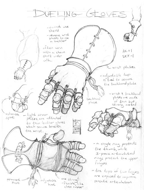 Dueling Gloves by Inkthinker chart | NOT OUR ART please click artwork for source | WRITING INSPIRATION for Dungeons & Dragons DND Pathfinder PFRPG Warhammer 40k Star Wars Shadowrun Call of Cthulhu and other d20 RPG fantasy science fiction scifi horror game design | CREATE YOUR OWN roleplaying game material w/ RPG Bard at www.rpgbard.com