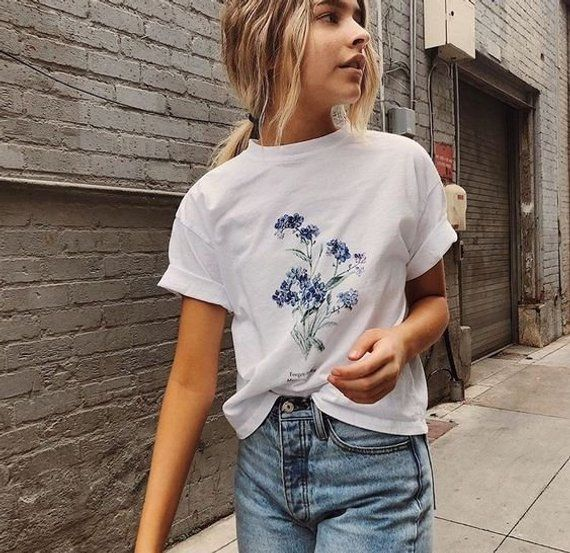 Forget Me Not Floral Shirt || Botanical Wildflower T-Shirt • Brandy Melville Inspired Graphic Tee • Aesthetic Clothing 9