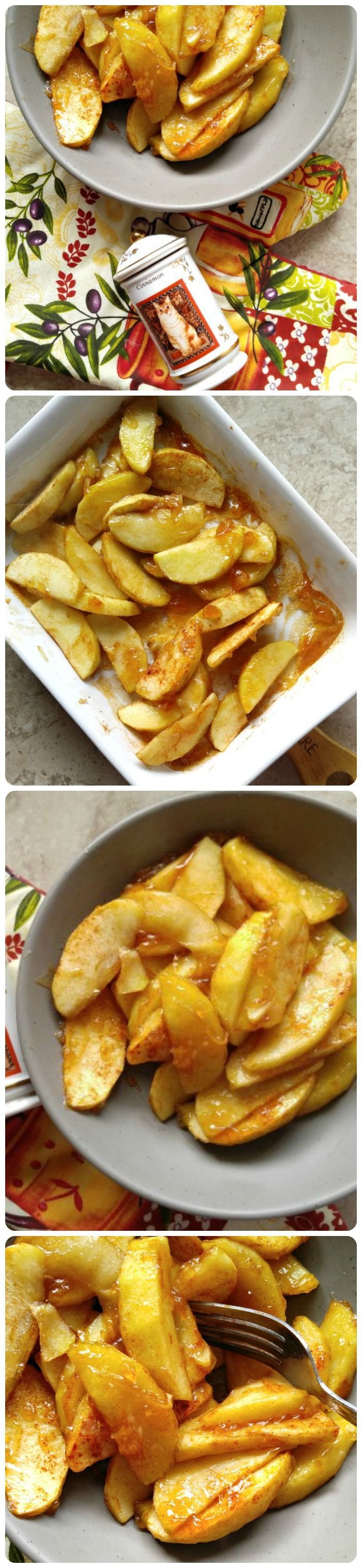 These cinnamon baked apple slices are the perfect side dish to go with pork chops. They are sweet but not overly so and perfectly tender. #bakedapples #applerecipes